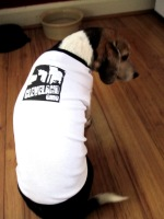 'Cleveland Smokestacks' in Black on White and Black American Apparel Dog Tee (2)