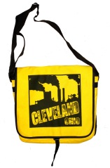 'Cleveland Smokestacks' in Black on Yellow Messenger Bag
