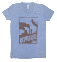 'Cleveland Smokestacks' in Brown on Athletic Blue American Apparel Ladies Track Tee