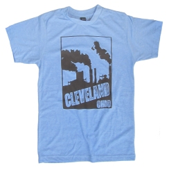 'Cleveland Smokestacks' in Brown on Athletic Blue Tee