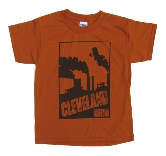 'Cleveland Smokestacks' in Brown on Texas Orange Youth Tee