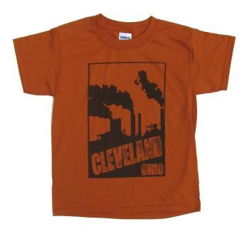 'Cleveland Smokestacks' in Brown on Texas Orange Youth Tee