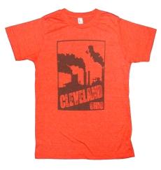 'Cleveland Smokestacks' in Brown on Unisex Heather Orange Tee