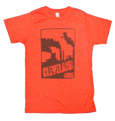 'Cleveland Smokestacks' in Brown on Unisex Heather Orange Tee