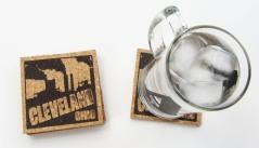 'Cleveland Smokestacks' in Dark Brown on Natural 4'' x 4'' Cork Coasters (Installed)