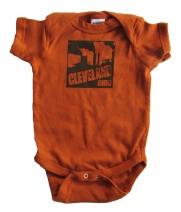 'Cleveland Smokestacks' in Dark Brown on Texas Orange Rabbit Skins Onesie