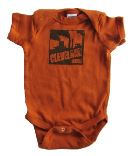 'Cleveland Smokestacks' in Dark Brown on Texas Orange Rabbit Skins Onesie