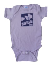 'Cleveland Smokestacks' in Purple on Lilac Rabbit Skins Onesie