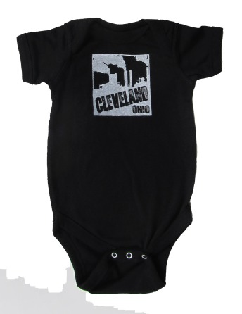 'Cleveland Smokestacks' in White on Black Rabbit Skins Onesie