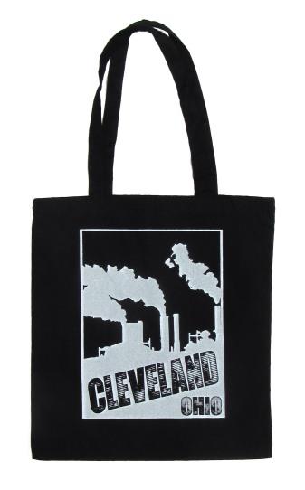 'Cleveland Smokestacks' in White on Black Tote