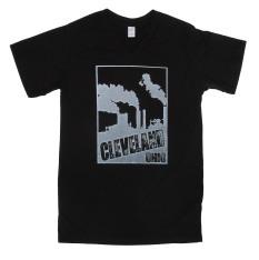 'Cleveland Smokestacks' in White on Black V-Neck Mens Tees