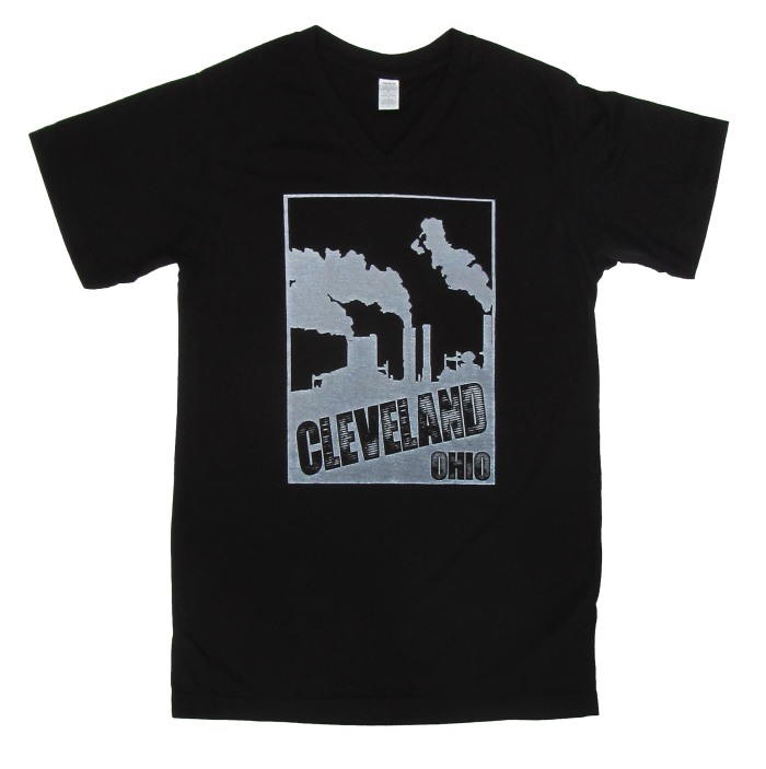 'Cleveland Smokestacks' in White on Black V-Neck Mens Tees
