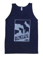 'Cleveland Smokestacks' in White on Tri-Indigo American Apparel Unisex Tank