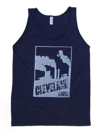 'Cleveland Smokestacks' in White on Tri-Indigo American Apparel Unisex Tank