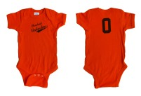 'Cleveland Underdogs' in Brown on Orange Baby Onesie (Both)