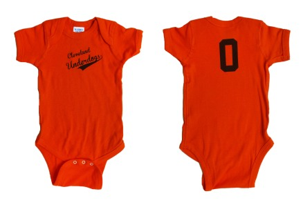 'Cleveland Underdogs' in Brown on Orange Baby Onesie (Both)