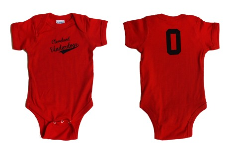 'Cleveland Underdogs' in Navy on Red Baby Onesie (Both)