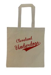 'Cleveland Underdogs' in Red on Natural Tote