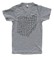 'Counties' in Black on Heather Grey V-Neck Tee
