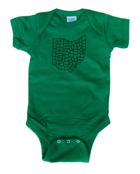 'Counties' in Black on Irish Green Onesie