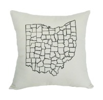 'Counties' in Black on Raw Canvas Pillow
