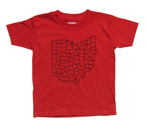 'Counties' in Black on Red Youth Tee