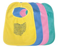 'Counties' in Blue on Multiple Terrycloth Bibs (Yellow, Blue, Pink)