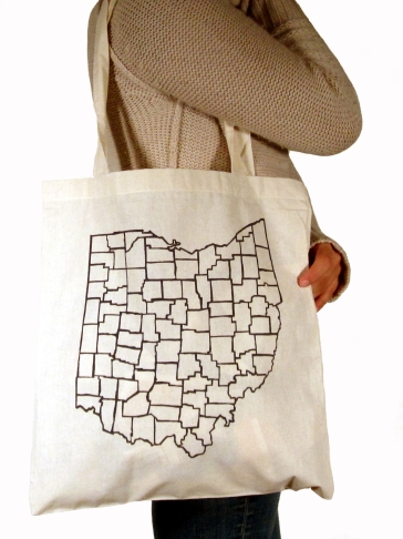 'Counties', in Dark Grey on Natural Tote
