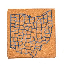 'Counties (Small)' in Blue on Cork Coaster, 4'' x 4''