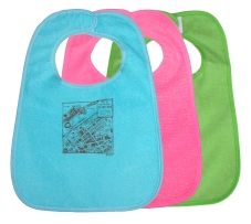 'Downtown CLE Map' in Brown on Multiple Bibs (Teal Blue, Pink, Green)