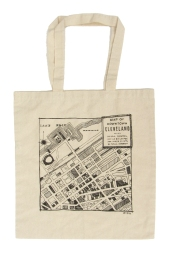 'Downtown Cleveland Map' in Black on Natural Tote
