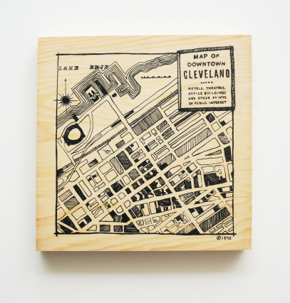 'Downtown Map' in Black on 12x12 Wooden Box