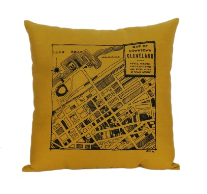 'Downtown Map' on Honey Gold Pillow