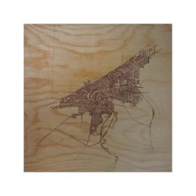 'Halftone Lake' in Tan and Brown on 12x12 Wood Box Print