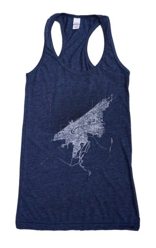 'Halftone Lake' in White and Black on Heather Navy Racerback Tank