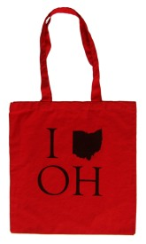 'I _ OH', in Black on Red Tote