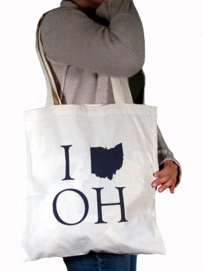 'I _ OH', in Dark Grey on Natural Tote
