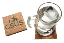 'I (Bike) CBUS' in Green on Natural 4'' x 4'' Cork Coasters (Installed)