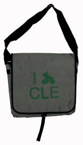 'I (Bike) CLE' in Green on Grey Messenger Bag