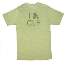 'I (Bike) CLE' in Green on Heather Green Unisex Tees