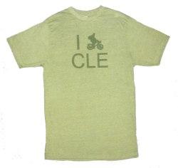 'I (Bike) CLE' in Green on Heather Green Unisex Tees
