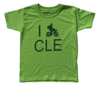 'I (Bike) CLE' in Green on Kiwi Green Toddler Tee
