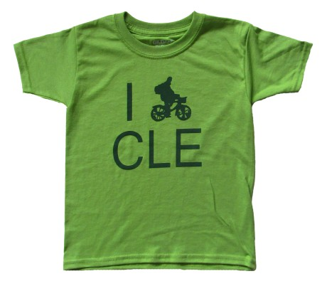'I (Bike) CLE' in Green on Kiwi Green Toddler Tee