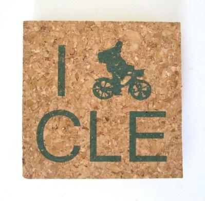 'I (Bike) CLE' in Green on Natural 4'' x 4'' Cork Coasters