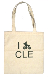 'I (Bike) CLE', in Green on Natural Canvas Tote