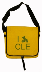 'I (Bike) CLE' in Green on Yellow Messenger Bag