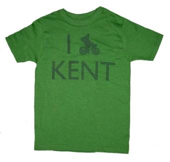 'I (Bike) KENT' in Green on Green Youth Tees
