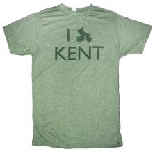 'I (Bike) KENT' in Green on Heather Green Unisex Tee