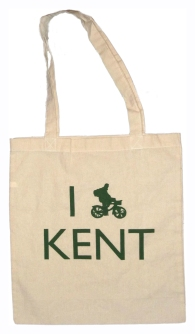 'I (Bike) KENT' in Green on Natural Tote