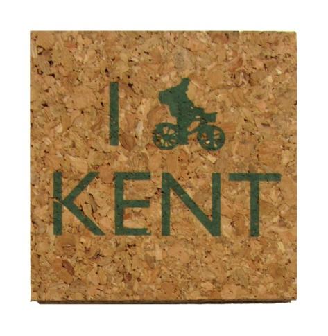 'I (Bike) KENT' in Green on Square Cork Coasters